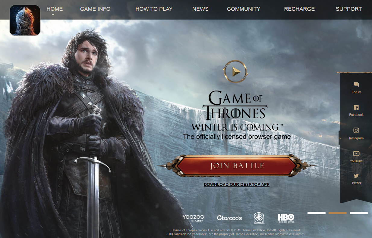Accueil du jeu Game of Thrones Winter is Coming