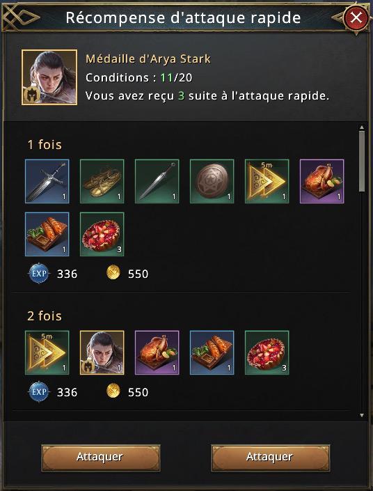 12 attaques rapides pour récupérer médailles d'Arya