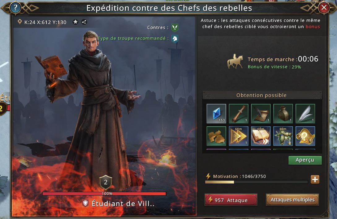 Chef rebelle de type étudiant de Villevieille