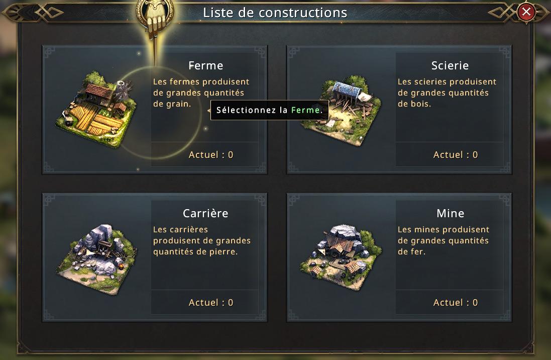 Choix des bâtiments