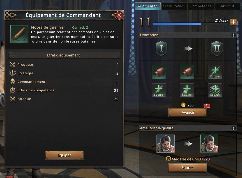 Equipement du commandant Chris