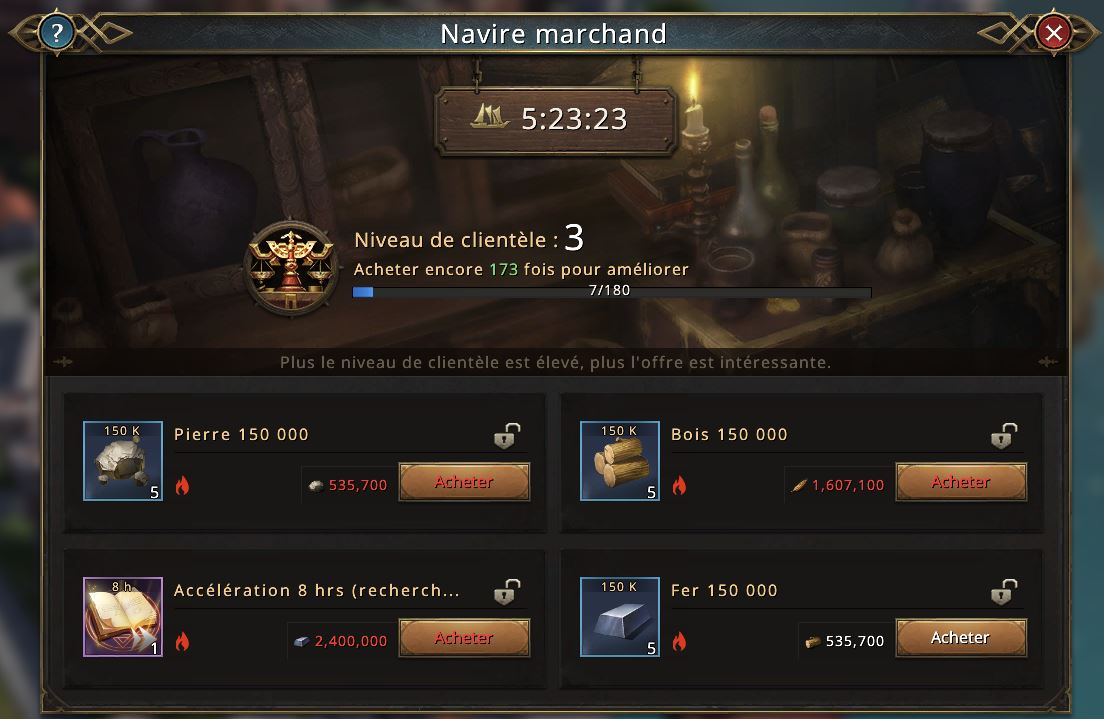 Offres du navire marchand