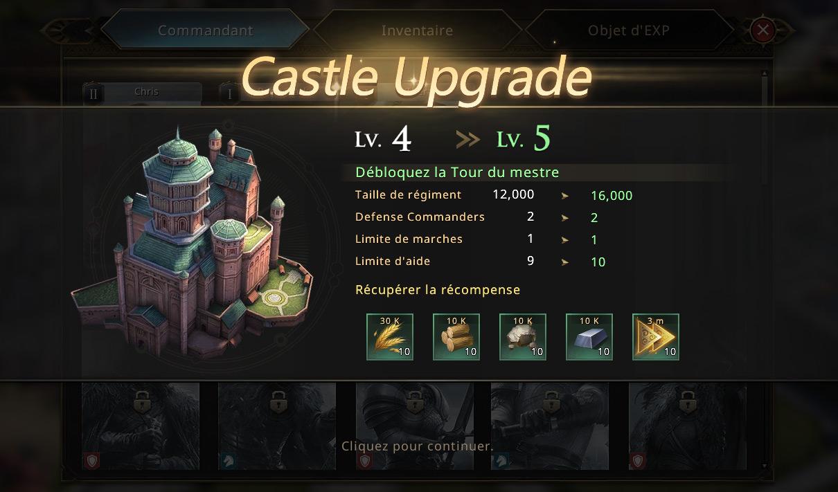Upgrade du château niveau 5
