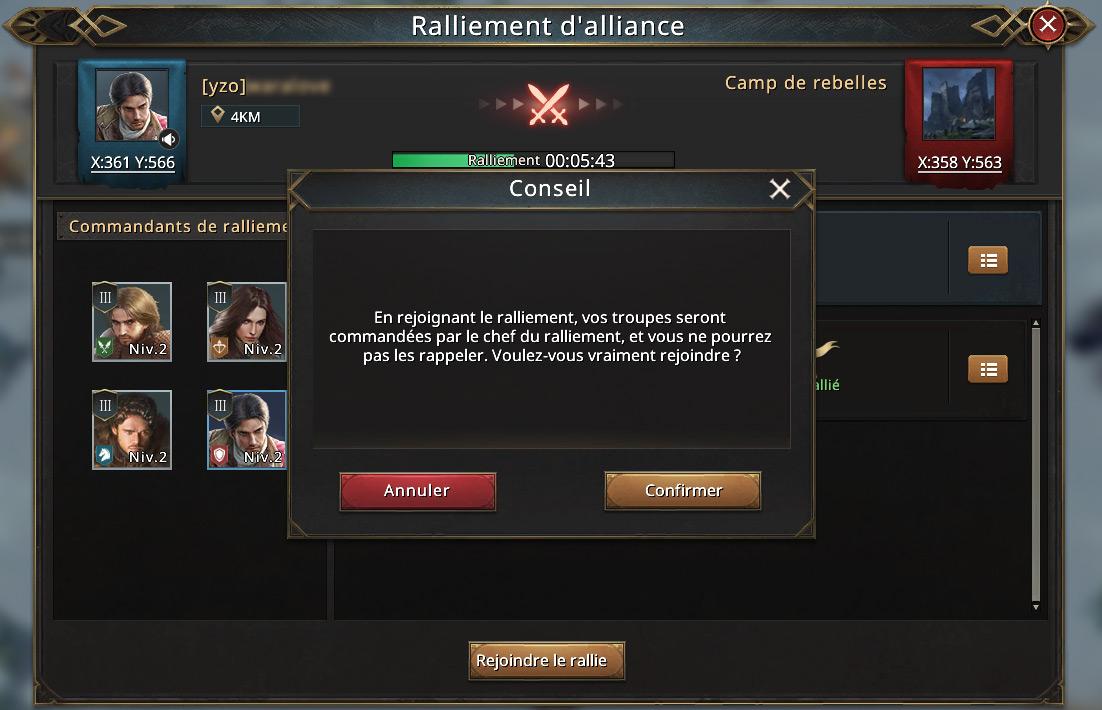 Raliemenet d'alliance avertissement troupes ne peuvent pas être rappelées