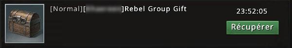 Rebel group gift suite à victoire contre groupe rebelle niveau 11