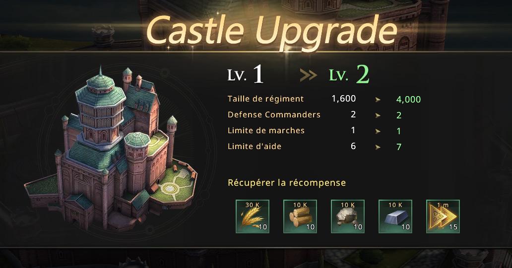 Upgrade du château au niveau 2
