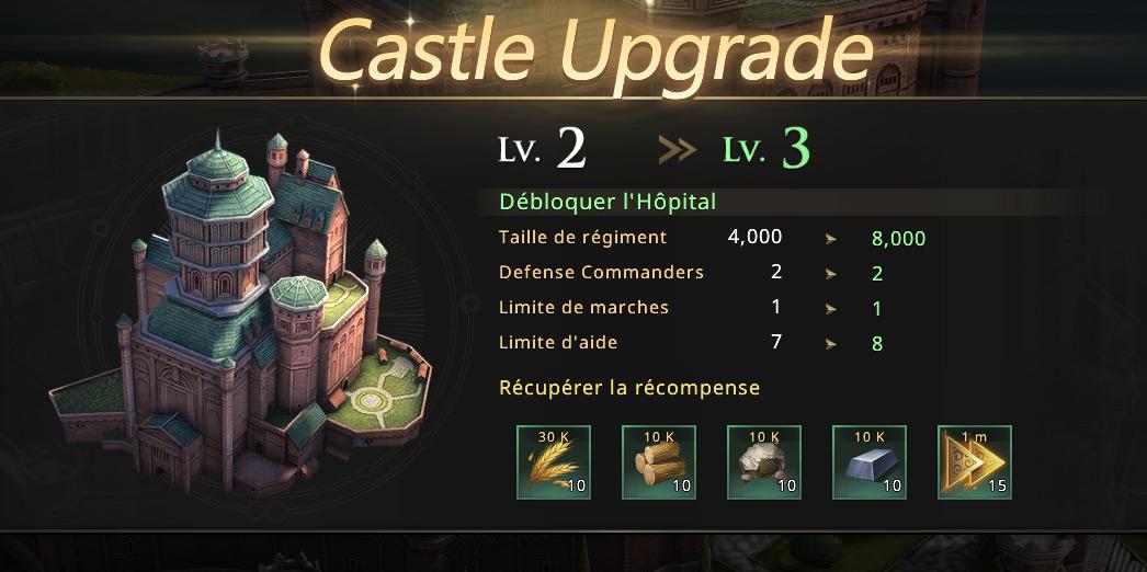 Passage du château au niveau 3