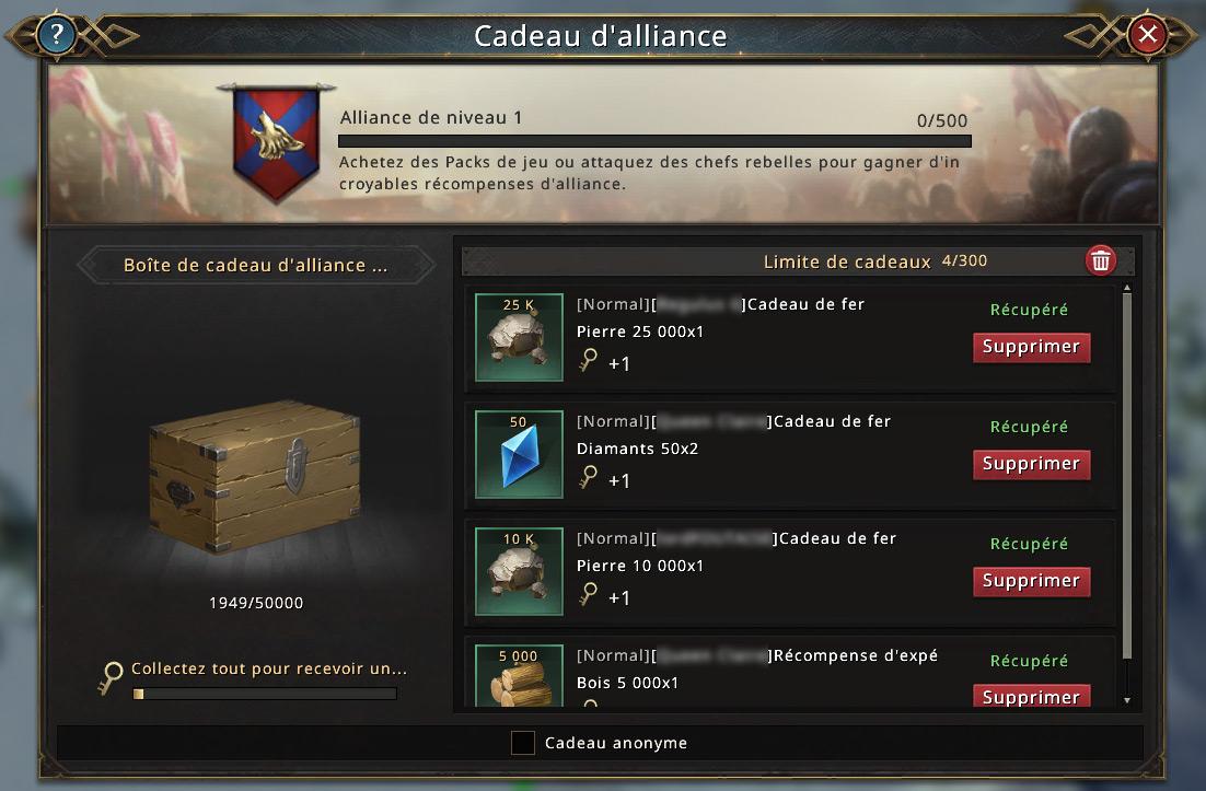 Cadeaux d'alliance