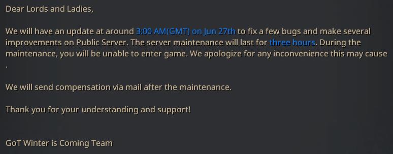 Message annonçant une maintenance