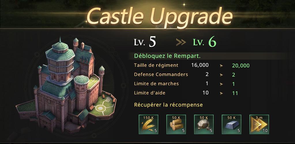 Mise à jour du château niveau 6