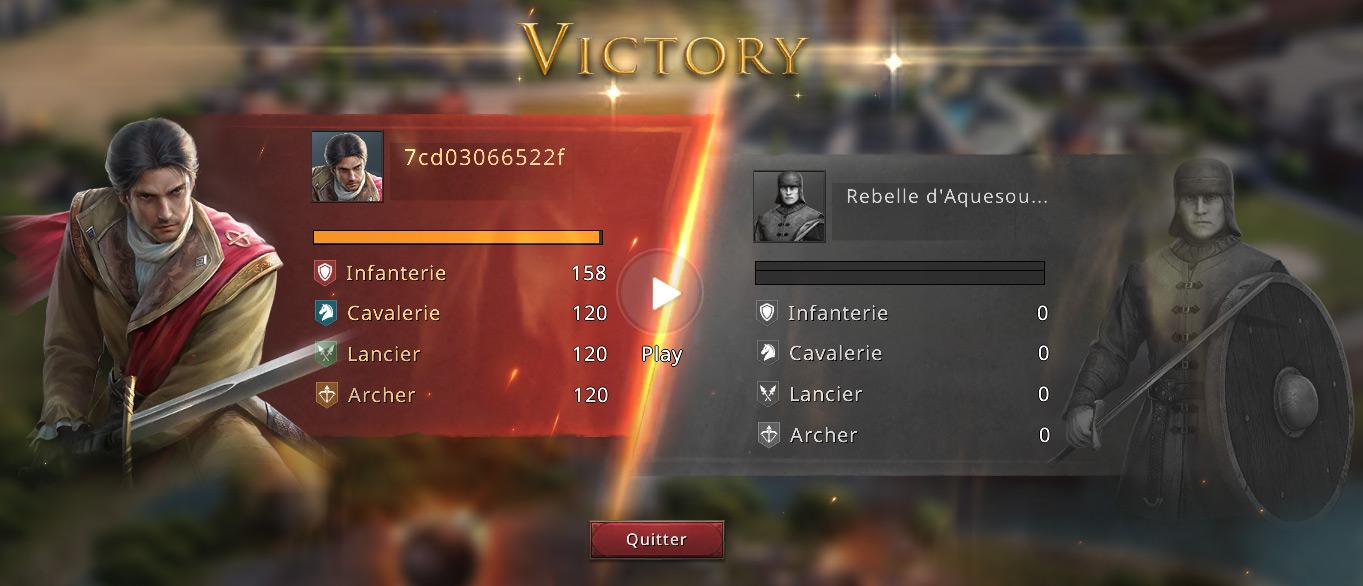 Première victoire contre les rebelles