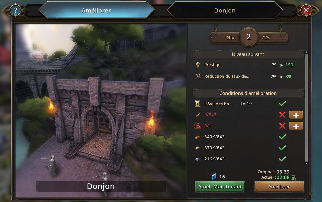 Amélioration du donjon