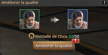 Evolution de Chris commandant 3 étoiles