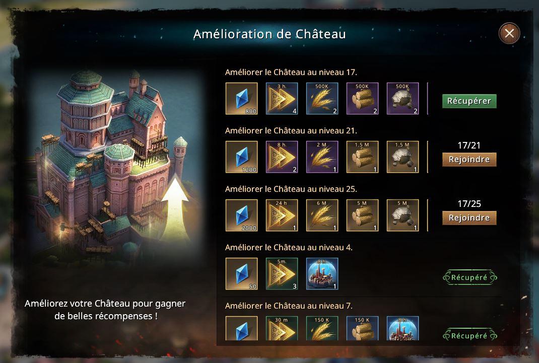 Bonus d'amélioration de château