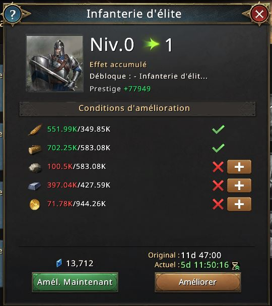 Déblocage de l'infanterie d'élite