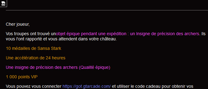 Email incomplet