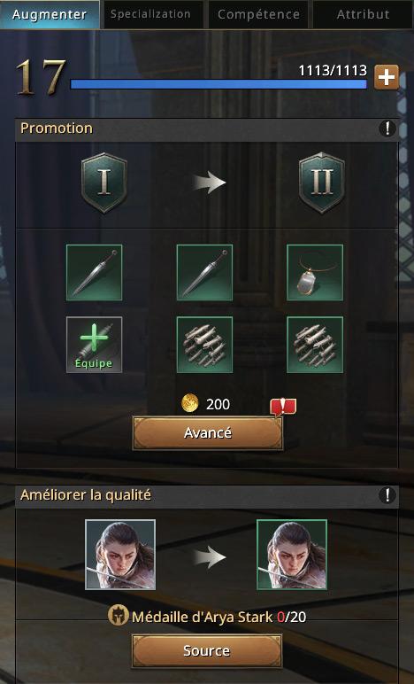 Equipement pour faire évoluer Arya au niveau II