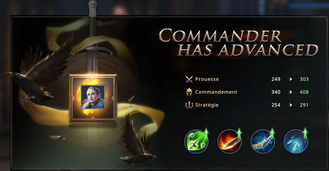 Evolution de Sansa vers commandant 3 étoiles