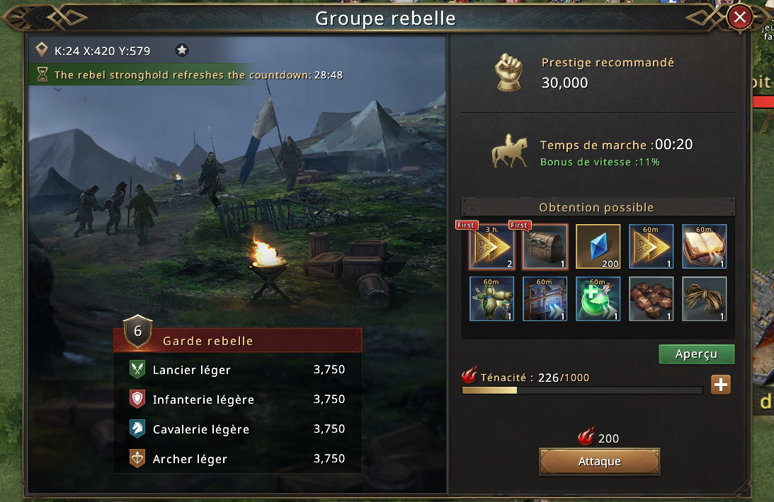 Groupe rebelle niveau 6