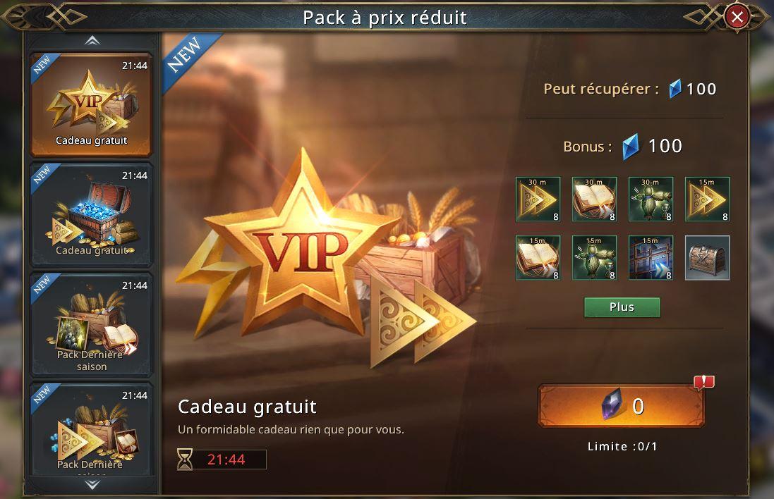 3e pack gratuit