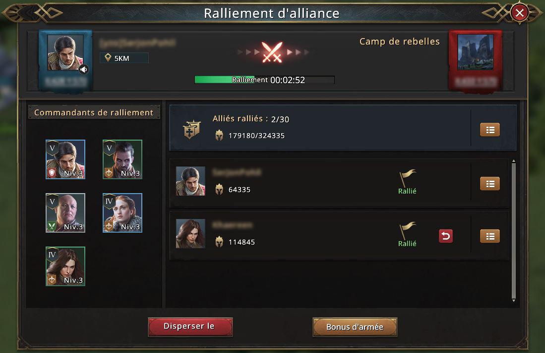 Ralliement d'alliance pour attaquer un camp de rebelles