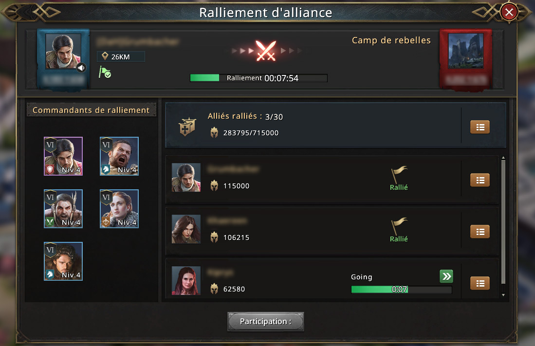 Ralliement d'allinace contre un camp de rebelles niveau 2