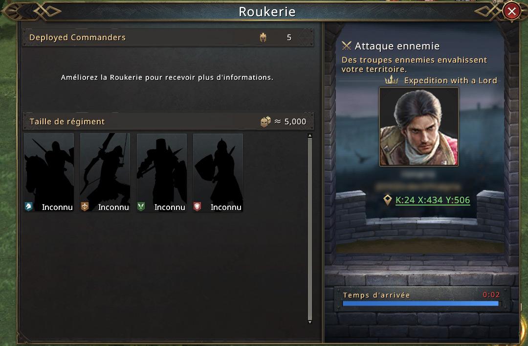 Nouvelle attaque de mon allié - Rapport de roukerie