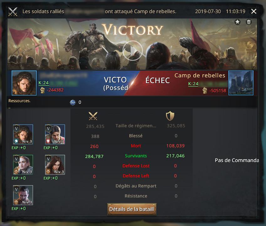 Victoire suite à attaque du camp de rebelles