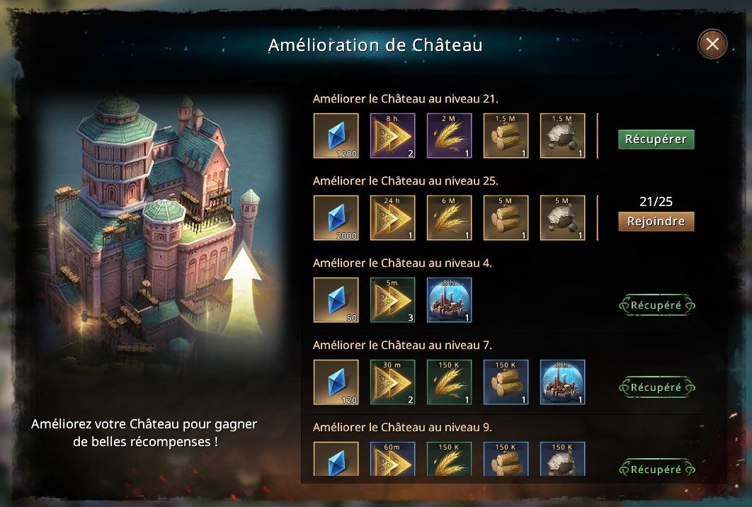 Récompense de château niveau 21