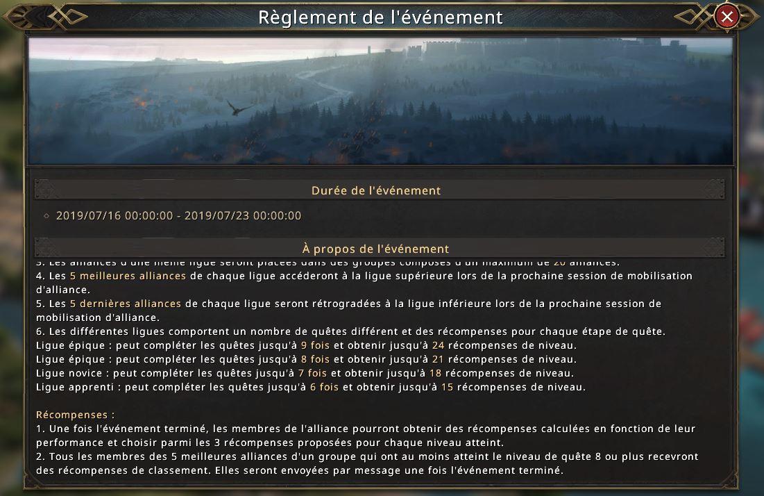 Règlement de la mobilisation d'alliance