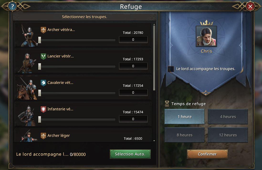 Sélection des troupes pour le refuge