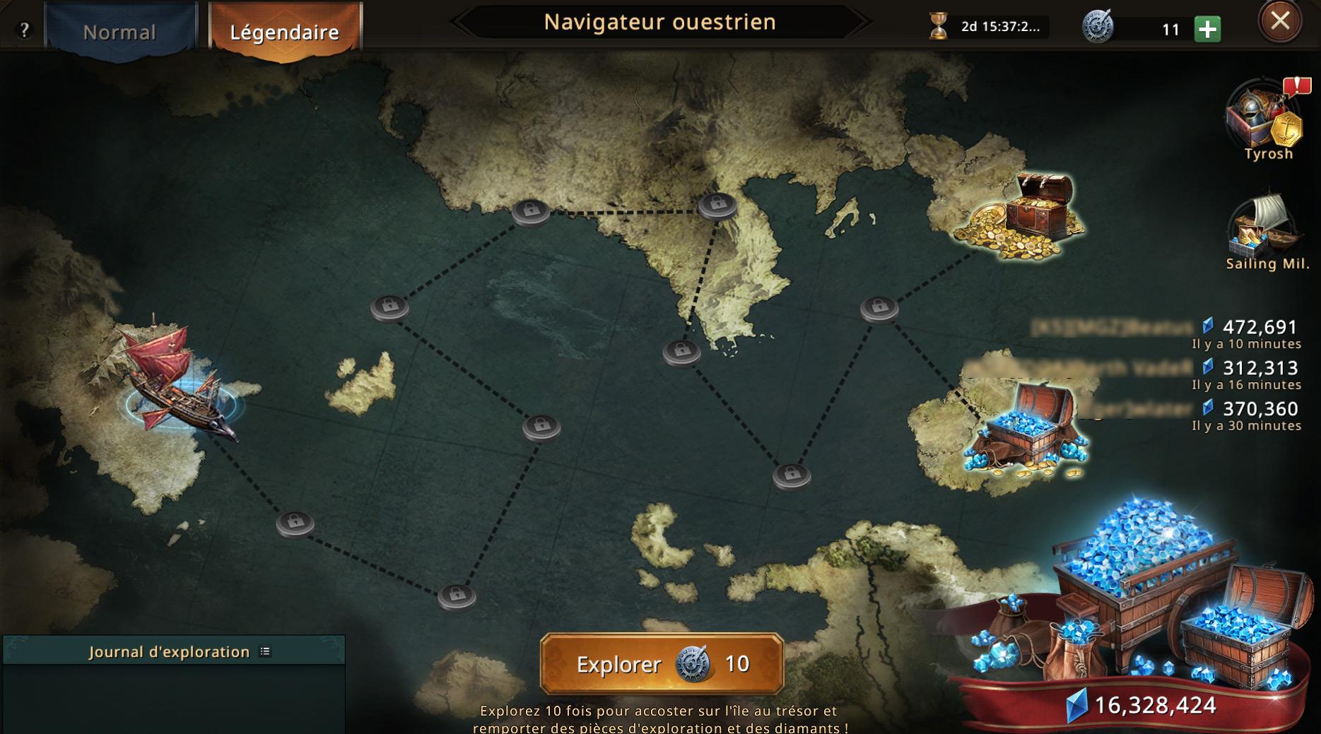 Carte du navigateur ouestrien légendaire