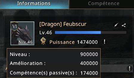 Détail de la puissance d'un dragon