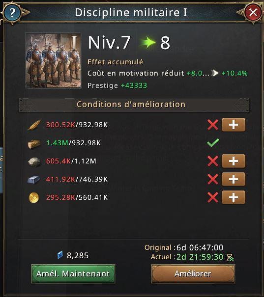 Recherche discipline militaire niveau 8