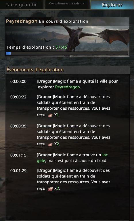 Log des événements d'exploration du dragon