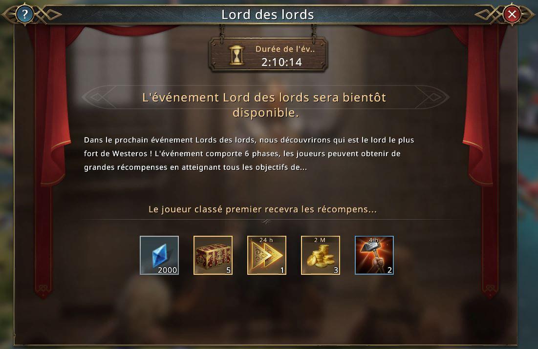 Événement Lord des Lords