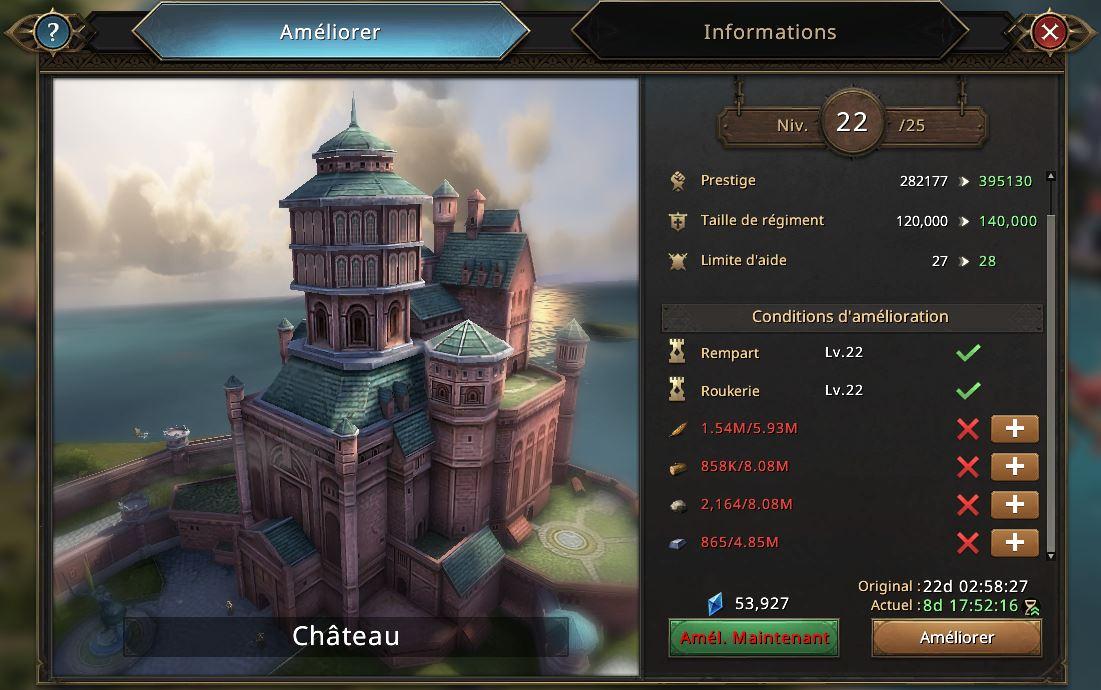 Evolution du château vers le niveau 23