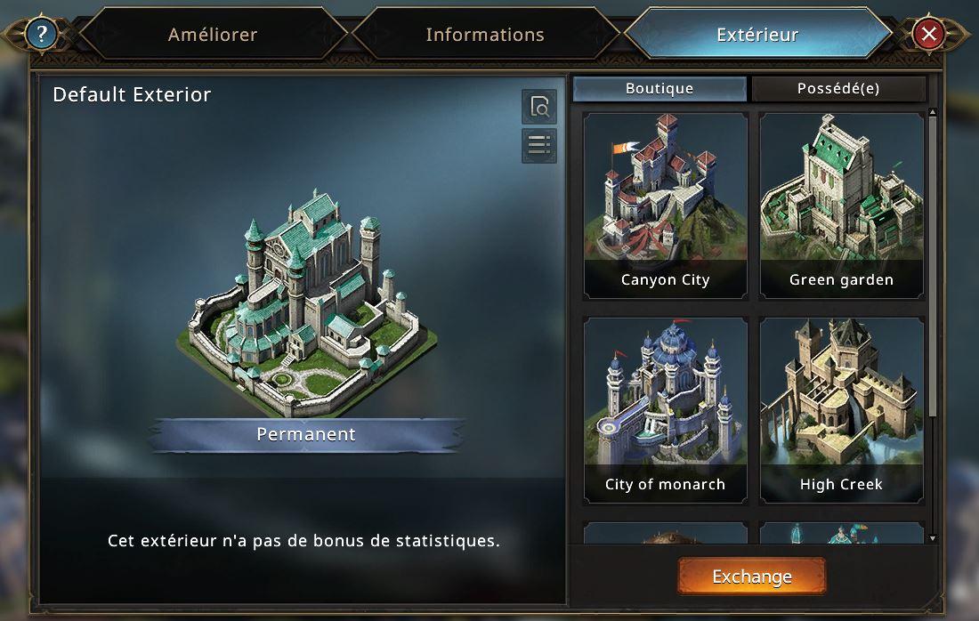 Extérieurs de château