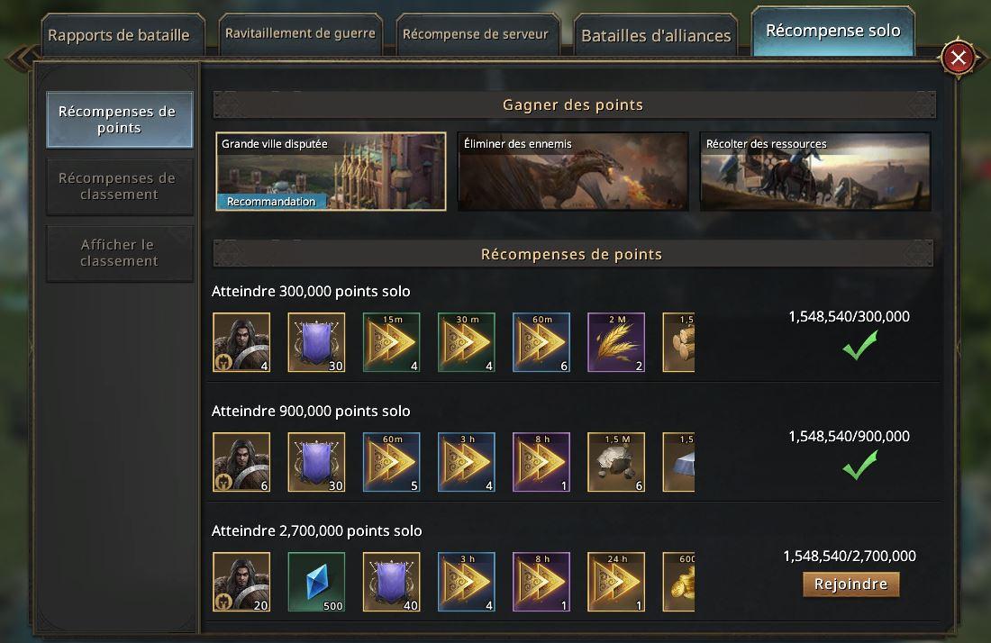 Récompense solo KvK