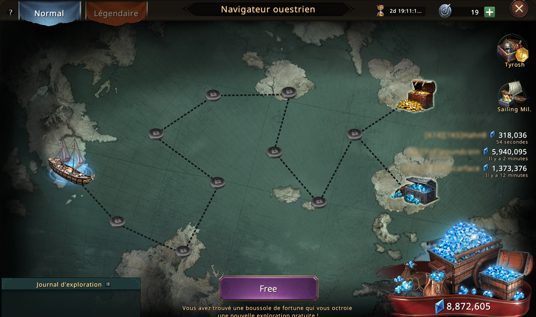 Carte du navigateur ouestrien