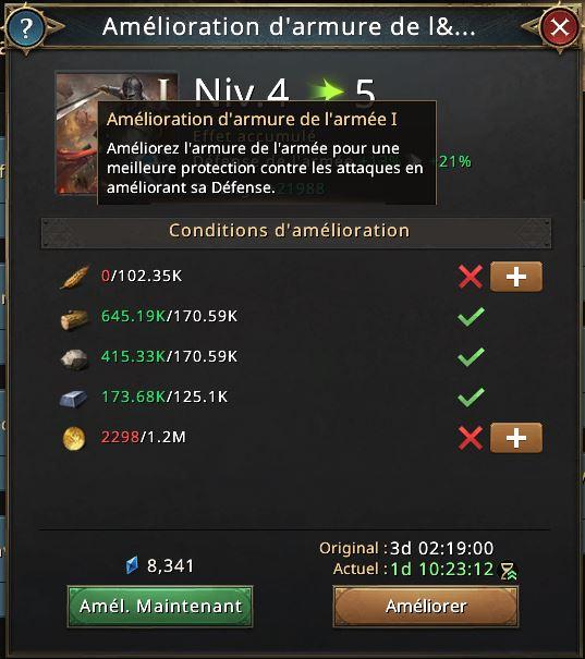 Recherche amélioration d'armure de l'armée I