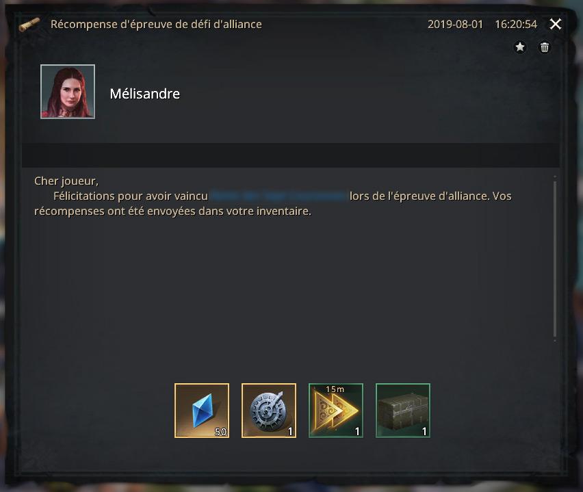Victoire défi d'alliance