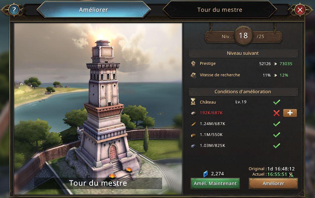 Evolution de la tour de mestre vers le niveau 19