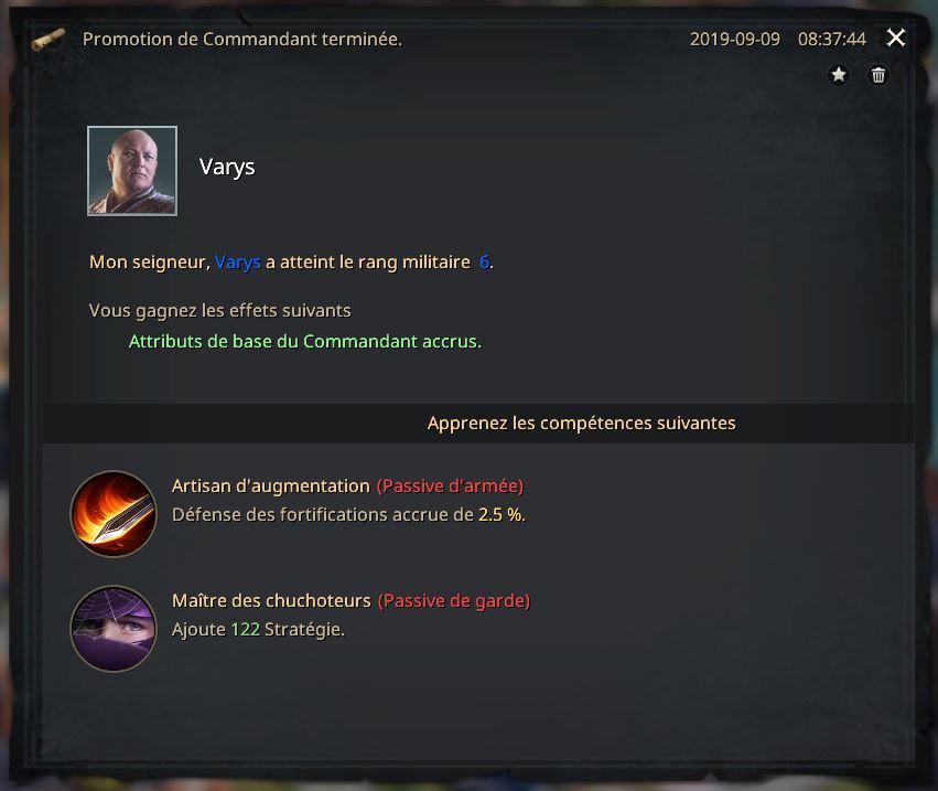 Commandant Varys au rang VI