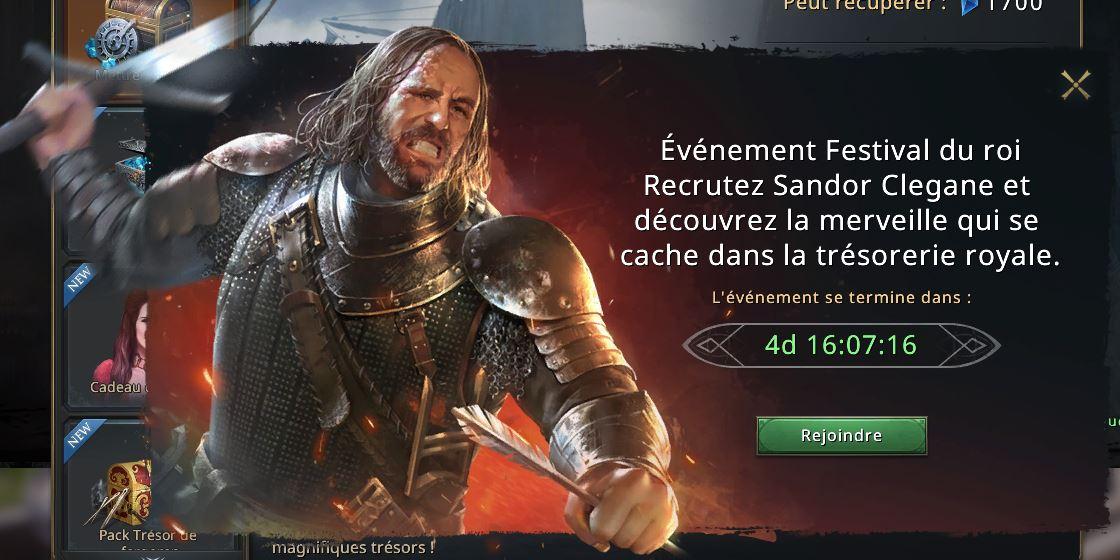 Nouvel événement Sandor Clegane
