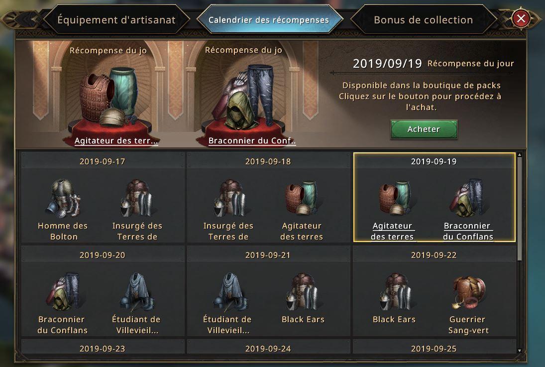 Calendrier des récompenses