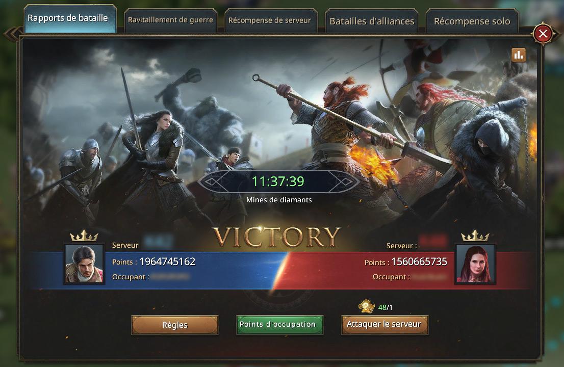 Résultat de la Guerre des Couronnes