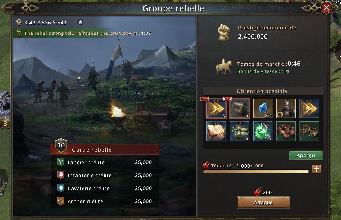 Groupe de rebelles niveau 10 élite composition