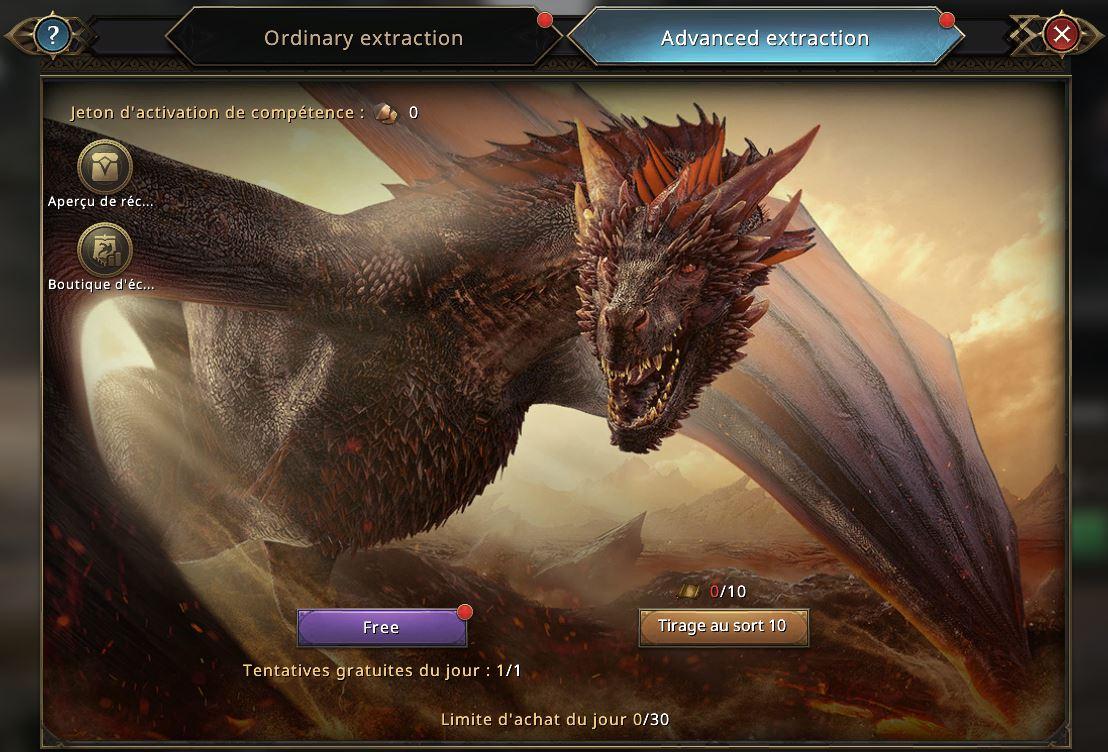 Loterie du dragon, onglet extraction avancée