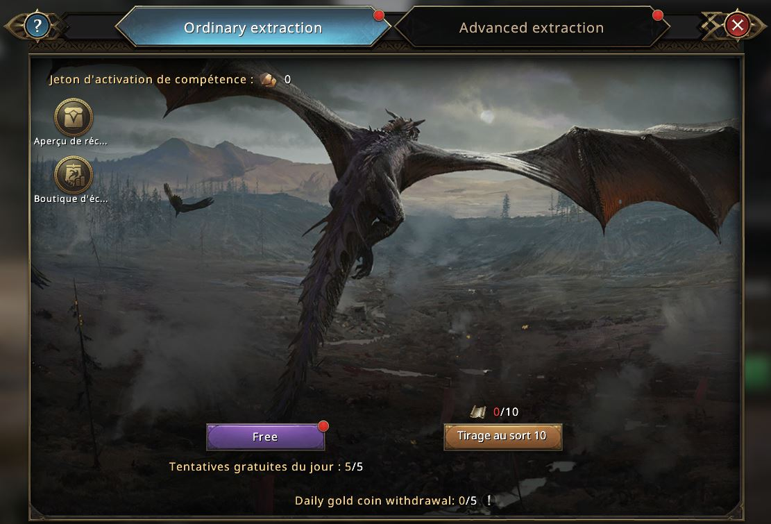 Loterie du dragon, onglet extraction ordinaire